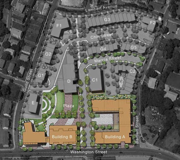 The Bartlett Place project has four phases of development for the 8.5 acre former MBTA bus yard in Roxbury. The first phase consists of 100 units of housing and a grocery store. Proposed plans for later phases including senior housing, artist housing and homes.