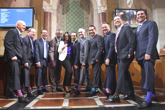 Los Angeles City Council members — donning eye-catching socks emblazoned with multicolored stripes, polka-dots and superheroes — launched a sock ...