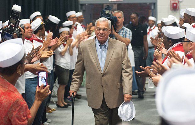 "Mayor Thomas Menino enters the 2nd annual ""Summer Swing"" hosted by Central Boston Elder Services. More than 500 Boston seniors attended the event at the BCYF Shelburne Community Center in Roxbury. Mayor Menino thanked the crowd for their contributions and support, and highlighted the wide array of city resources available to seniors."