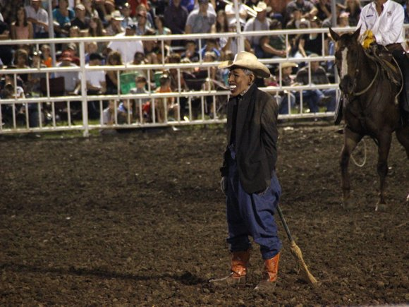 "A rodeo stunt at the Missouri State Fair has come under criticism after a clown donned a Barack Obama mask and stuck a broom up his backside. The stunt took place during the bull riding competition on Saturday night. Rodeo announcer Mark Ficken, president of the Missouri Cowboy Rodeo Association and a school superintendent, announced a special guest: ""President Obama."""