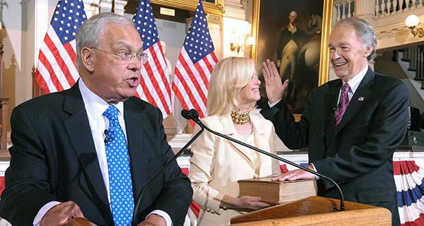 Mayor Thomas M. Menino administers the ceremonial swearing in for U.S. Senator Edward Markey at Faneuil Hall last week.