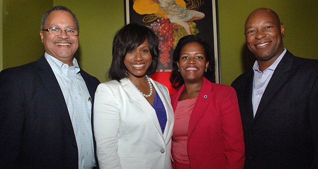 (L-R) Northeastern University's Robert Gittens, Boston City Councilor Ayanna Pressley, State Senator Linda Dorcena-Ferry and Boston businessman Darryl Settles at Pressley's campaign kickoff at Tavaro's Restaurant in Dorchester. Among the many supporters in the crowed were mayoral candidate Charlotte Golar Richie, State Rep. Russell Holmes and State Rep. Carlos Henriquez.