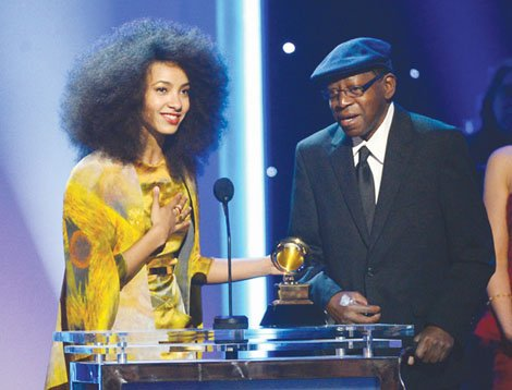 "Portland musicians Esperanza Spalding and Thara Memory accept the Best Instrumental Arrangement Accompanying Vocalist Award for ""City of Roses"" onstage at the 55th Grammy Awards on Feb. 10 in Los Angeles."