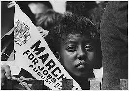 Young girl with sign at 1963 March on Washington
