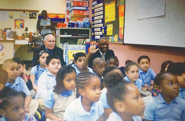 Kevin Maxwell, Ph.D., the new chief executive officer for Prince George's County Public Schools (PGCPS) and County Executive Rushern Baker sit in a classroom at Bladensburg Elementary School on Monday, Aug. 19, the first day of school in the county.