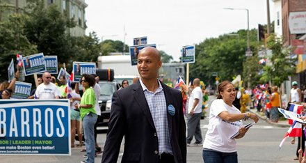 John Barros continued his energetic rise on the campaign trail, participating in the Dominican Day Parade with over 100 supporters, a music van and truck.