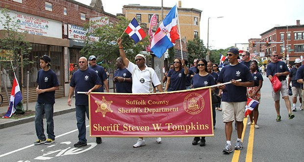 Suffolk County Sheriff Steven W. Tompkins (center) took part in the Annual Dominican Parade on Aug. 18.