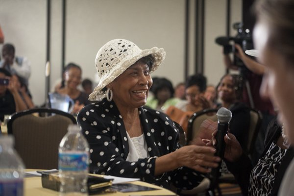 Nettie Hailes talks about her participation in the 1963 March on Washington during the Black Women's Roundtable discussion and luncheon on Thurs., August 22 at the Hyatt Regency Capitol Hill in Northwest.