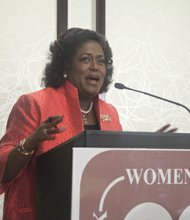 National Council of Negro Women Chair, Ingrid Saunders-Jones shares her story of the march in Detroit, Mi., during the 1963 March on Washington at the Black Women's Roundtable luncheon and discussion held Thurs., August 22 at the Hyatt Regency Capitol Hill in Northwest.