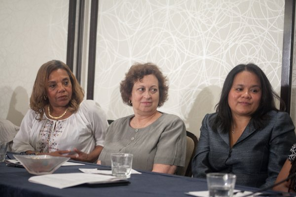 Beverly Alston, NAN Chair; Carol S. Rosenblatt, Executive Director, Coalition of Labor Union; and, Christine Chen, President, Asian Pacific Islander Vote panelist at the Black Women's Roundtable discussion and luncheon on Thurs., August 22 at the Hyatt Regency Capitol Hill in Northwest.
