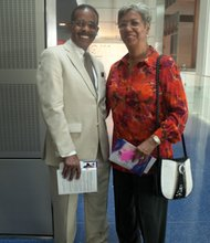 """Joe Madison and his wife at the Newseum for the """"Covering Civil Rights: On the Front Lines,"""" event Thurs., August 22."""