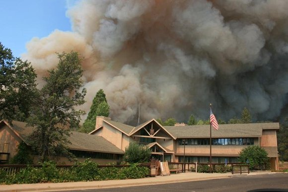 Rim Fire burns close to Groveland Ranger Station near Yosemite National Park, California on Friday, August 22, 2013.