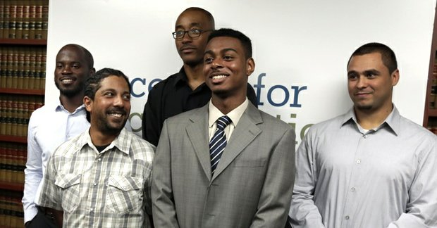 Plaintiffs in the stop-and-frisk case, from left: Nicholas Peart, Lilat Clarkson, Leroy Downes, Devin Almonar and David Ourlicht, at the Center for Constitutional Rights, in New York, Monday, Aug. 12. U.S. District Judge Shira Scheindlin ruled that the New York Police Department deliberately violated the civil rights of tens of thousands of New Yorkers with its contentious stop-and-frisk policy, and an independent monitor is needed to oversee major changes.