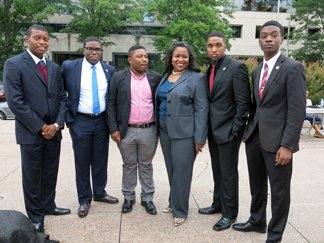 Reggie Dupree, Akeem Brown, Franklin Pressley, Andrew McCrae, and Aaron Russell from South Carolina State University Student Government Association, and Gigi Dixon from Wells Fargo Philanthropic Arm in Columbia, SC.