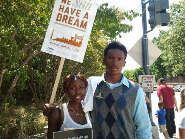 Hope Ajayi (left), 19, of Washington, D.C. and Chukwuma, 19, of the Brooklyn borough of New York City