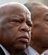 Phi Beta Sigma Fraternity brothers Rep. John Lewis (left), Georgia Democrat, and the Rev. Al Sharpton (Courtesy photo)
