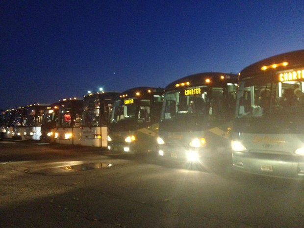 Hundreds of buses carrying thousands of participants arrived at RFK Stadium in D.C. for the commemorative March on Washington on Aug. 24.