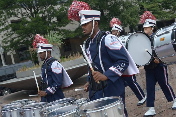 Students from Howard University marching band perform during the Drum Majors For Justice Future Leaders Celebration at Freedom Plaza in Northwest on Fri., August 23.