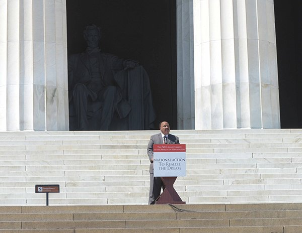Martin Luther King III delivers remarks on the steps of the Lincoln Memorial during the March on Washington 50th Anniversary on Sat., August 24.