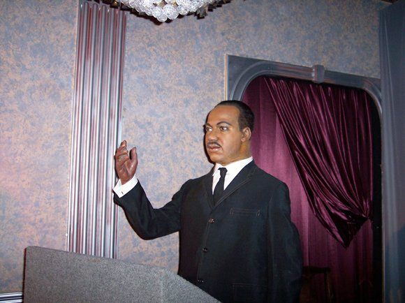 A wax figure of civil rights icon Martin Luther King Jr. will be showcased in the opulent main lobby of ...