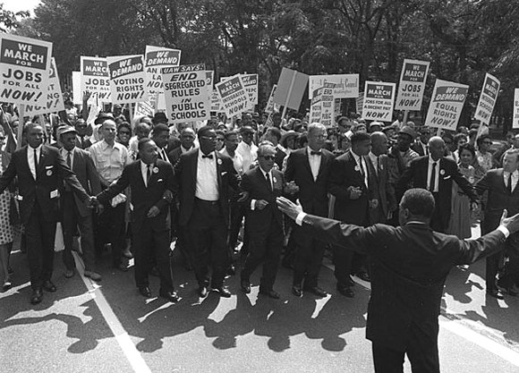 This United States Information Agency photograph of the March on Washington, August 28, 1963, shows civil rights and union leaders, including Martin Luther King Jr., Joseph L. Rauh Jr., Whitney Young, Roy Wilkins, A. Philip Randolph, and Walter Reuther.