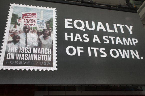 The U.S. Postal Service introduced Friday the 1963 March on Washington limited-edition Forever stamp to commemorate the 50th anniversary of ...