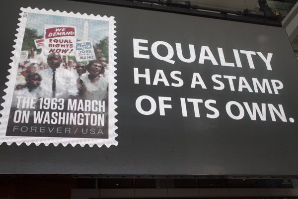The United States Postal Service's commemorative stamp for the 50th anniversary of the March on Washington was unveiled at the Newseum in in Northwest D.C. on Thursday, Aug. 22.