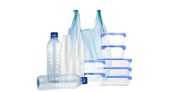 Plastic bottles, cups, containers and bag