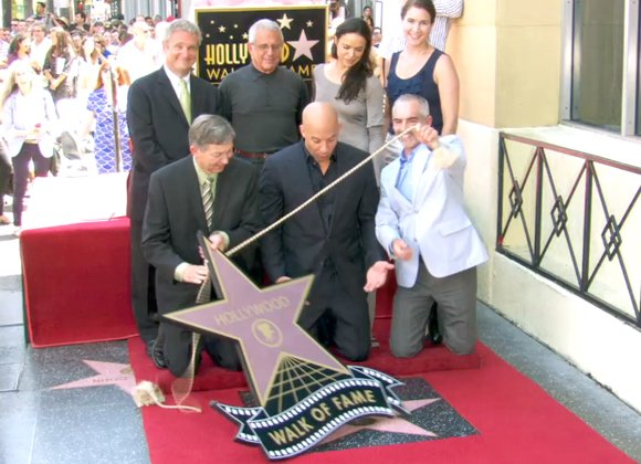 Actor and filmmaker Vin Diesel received the 2,504th star on the Hollywood Walk of Fame today, two days before the ...