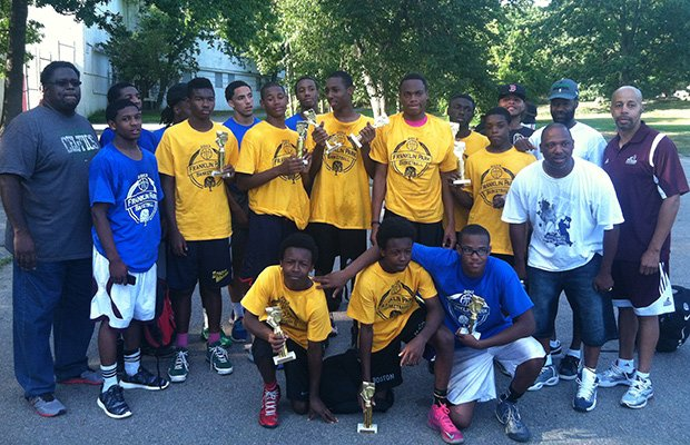 "The Second Annual Franklin Park Invitational Basketball Tournament on Aug. 25th featured 12 teams from Mission Hill to Mattapan, including 14-and-under, 16-and-under and 21-and-under teams from the courts at Franklin Park. The Tournament was organized by local coaches Stan McLaren and Al ""Ski"" McLain. Photo shows members of the competing teams for the 16-and-under championship."