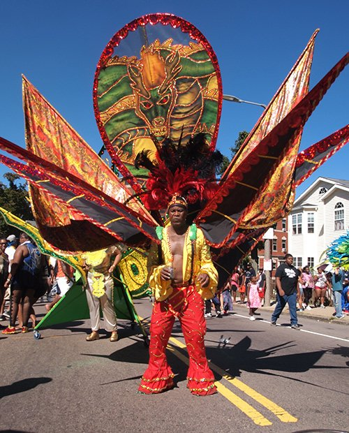 """Selwyn Malcolm's costume at the Caribbean Festival on Aug. 24 portrays a fierce mare in keeping with the Trinidad and Tobago Social Club's theme for 2013, """"Nightmares."""""""