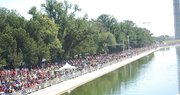 Thousands gathered around the Reflection Pool to commemorate the March on Washington's 50th anniversary.