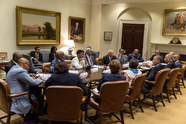 President Barack Obama meets with faith leaders in the Roosevelt Room of the White House on Aug. 26 to discuss the anniversary of the March on Washington. (Photo courtesy of the White House)