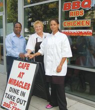 The Café at Miracles has become a go-to spot for soul food at 4200 N.E. Martin Luther King Jr. Blvd. Welcoming customers (from left) are Herman Bryant, executive director of the adjacent Miracle's Club, owner Kim Lehman and chef Lasondra Sims.