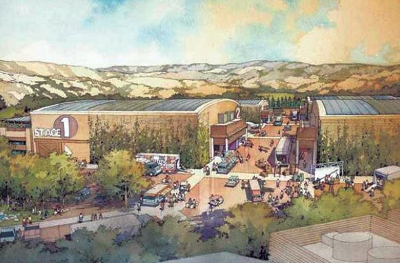 Artist rendering of the proposed Disney soundstage in Santa Clarita Valley.