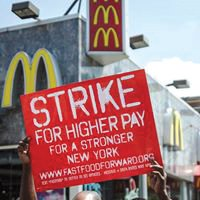 Fast food workers strike.