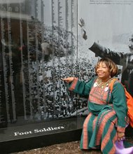 Foot soldier Rev. Melony McGant finds her name on the Civil Rights Foot Soldiers Memorial in Annapolis, Md.