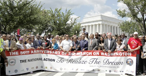 From left: Sabrina Fulton, House Minority Leader Nancy Pelosi of Calif., National Urban League President Marc Morial, Congressman John Lewis, Rev. Al Sharpton, Martin Luther King III, his wife Arndrea and daughter Yolanda, Washington City Mayor Vincent C. Gray and Rev. Jesse Jackson (behind MLK III) start the Anniversary March on Washington at Lincoln Memorial in Washington on Saturday to commemorate the 50th anniversary of the 1963 March on Washington at the memorial on Aug. 28, 1963, where the Rev. Martin Luther King Jr. presented his I Have a Dream speech during the March on Washington.