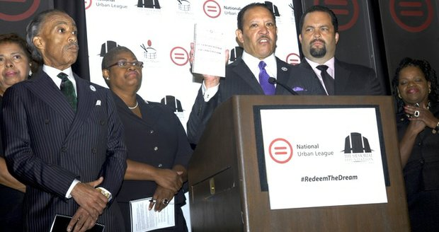 National Urban League President Marc Morial announces civil rights agenda. From left to right: Al Sharpton, Melanie Campbell, Morial, Ben Jealous and Barbara Arnwine.