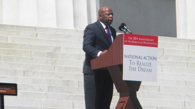 U.S. Congressman John Lewis, who spoke at the original March on Washington in 1963 as the leader of the Student Nonviolent Coordinating Committee (SNCC), gave a speech at the Lincoln Memorial 2013.