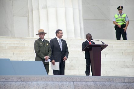 Jonathan B. Jarvis, 18th Director of the National Park Service, Mayor Vincent C. Gray, and Robby Novak, Kid President