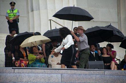 Oprah Winfrey greets Bernice King