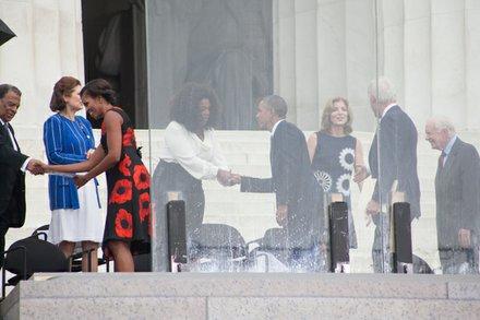 President Obama greets Oprah Winfrey
