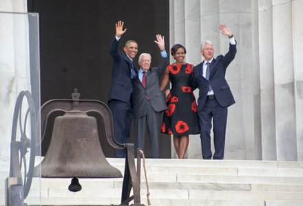"President Obama and First Lady Michelle, Former Presidents Jimmy Carter and Bill Clinton wave to the crowd from the steps of the Lincoln Memorial during the ""Let Freedom Ring"" commemoration and call to action program on Wednesday, August 28."