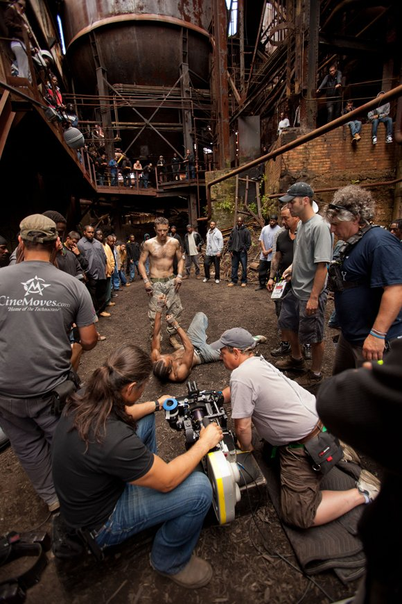 "The cast and crew of Relativity Media's ""Out of the Furnace"" prepare for  a scene on the set with Casey Affleck."