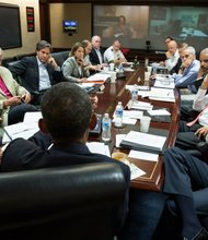 President Obama meets Aug. 31, 2013, in the Situation Room with his national security advisers to discuss strategy in Syria. (Pete Souza/The White House)
