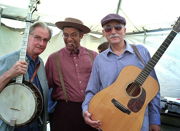 (L-R) Geoff Muldaur of the Jim Kweskin Jug Band, Dom Flemons of the Carolina Chocolate Drops and Jim Kweskin of the Jim Kweskin Jug Band before a performance at the Rhythm and Roots Music Festival held in Charlestown, R.I., over the Labor Day weekend.
