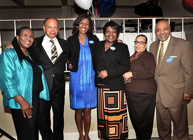 (L-R) Shirley Owens-Hicks, Royal Bolling Jr., Charlotte Golar Richie, State Rep. Gloria Fox, former Boston Housing Chief Doris Bunte and Bill Owens at Golar Richie's fund-raiser for her mayoral campaign at the Old Colony Restaurant in Dorchester. Golar Richie received endorsements from the iconic Boston political families the Owens and the Bollings.