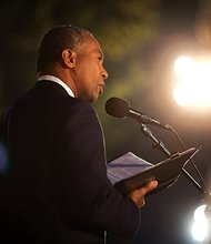 "Governor Deval Patrick participates in Landmark Orchestra's commemoration of the 50th anniversary of Dr. Martin Luther King Jr.'s ""I have a dream"" speech and the March on Washington at the DCR Hatch Shell on the Charles River Esplanade in Boston on Aug. 28. (Photo courtesy of the Govenor's Office)"