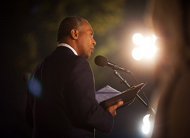 "Governor Deval Patrick participates in Landmark Orchestra's commemoration of the 50th anniversary of Dr. Martin Luther King Jr.'s ""I have a dream"" speech and the March on Washington at the DCR Hatch Shell on the Charles River Esplanade in Boston on Aug. 28."